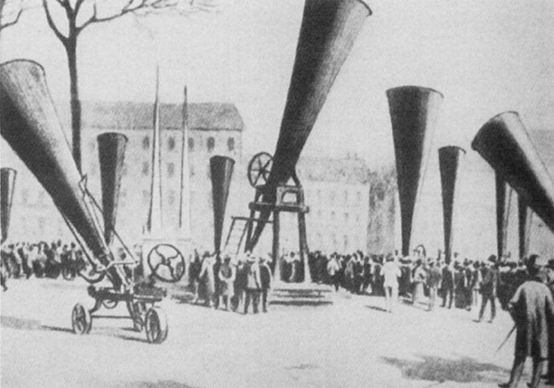 Canhões de granizo no 3º Congresso Internacional sobre Hail Shooting realizada em Lyon, em 1901