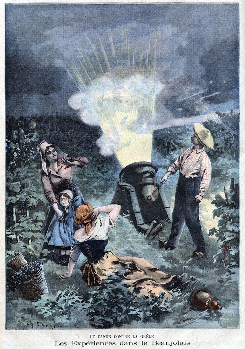 Esta ilustração de um canhão granizo apareceu em um jornal francês cerca de 1900