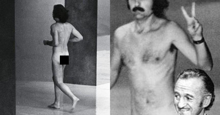 Robert Opel em 1974, durante entrega do Oscar quando o ator David Niven chamava a atriz Elizabeth Taylor
