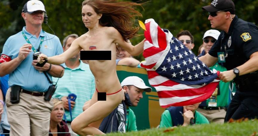 Kimberly Webster de 23 anos em outubro de 2013, no clube de campo Muirfield Village, em Dublin, Ohio, EUA, durante a President's Cup.