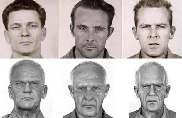 Fotos do Departamento de Justiça dos EUA mostram os detentos Frank Morris, Clarence Anglin e John Anglin na época em que fugiram e, abaixo, a reconstituição de como eles estariam hoje (Foto: Divulgação/Departamento de Justiça dos EUA)