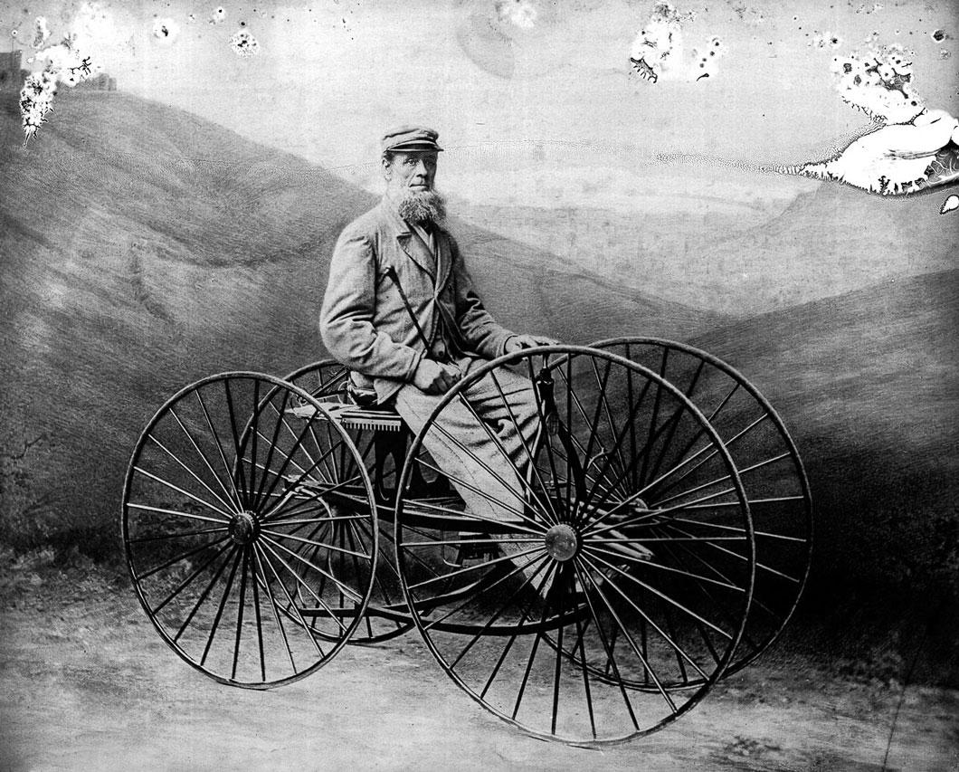 Mistura de bicicleta com carruagem, a pedamotive carriage de 1850