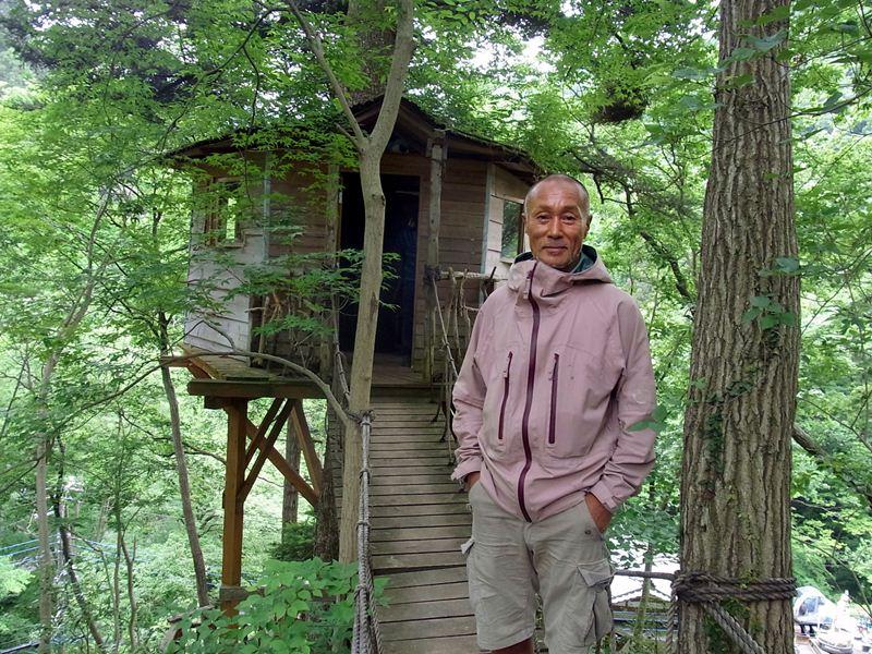 Takashi Kobayashi,Treehouse creator in Takao ,26 May 2012. Satoko Kawasaki photo.