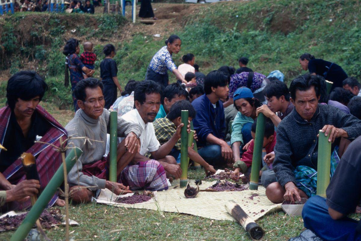 Depois de assados, o conteudo dos bambus são consumidos pelos convidados. Nos bambus verde há uma bebida, uma espécie de vinho feito com folhas de palmeiras