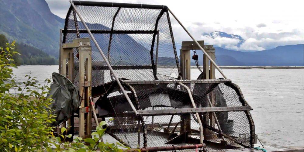 Fish wheels, roda de peixes para capturar salmões
